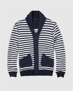 条纹撞色拼接青果领纯棉卫衣外套