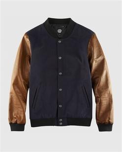 时尚羊毛混纺拼皮防风棒球服