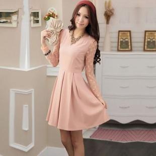 蕊盈 新款韩版时尚显瘦网纱百搭长袖打底连衣裙(送腰带)M2013 粉色 S