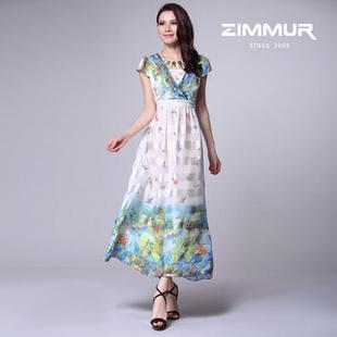 ZIMMUR2013春夏新款优雅雪纺印花长裙Z13XQA1509WC 白花色 S