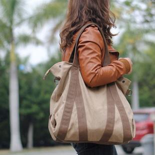 【七色棉】七色棉 复古时尚女式包 品牌时尚休闲包 帆布背包(深卡其)