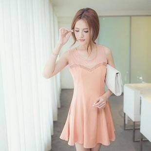 MAYUKI 网纱拼爱心胸线铆钉连衣裙3011835 粉色 均码
