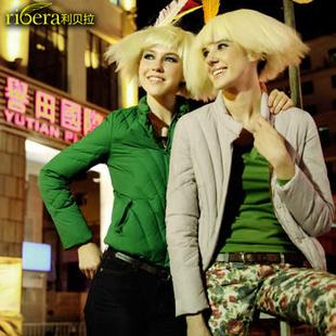 利贝拉欧洲站2013冬款新款女装 立领时尚短款修身羽绒服潮6341220002 浅米杏 M