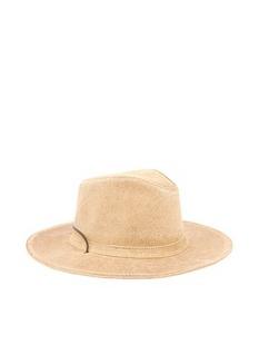 MINNETONKA迷你唐卡卡其色真皮材质纯色男士牛仔帽,12Y416MK,9541,LARGE