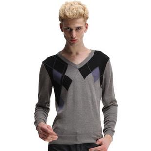 卡宾CABBEEN撞色菱形图案V领含羊毛男针织衫B/3114101004 中花灰46 52(180/100A)