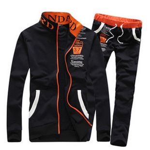 简柯林 潮男时尚户外运动男士韩版修身运动套装 卫衣套装 跑步服YJ847支持货到付款 黑色 L