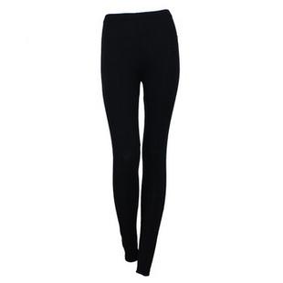 安莉芳E-BRA柔软透气纯色女款打底保暖裤KL0224 BLK黑色 L