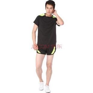 扫货季 菩?男健身服套装 运动瑜伽服 短裤跑步服健美操服装VN2445-VN1445 黑绿 XL