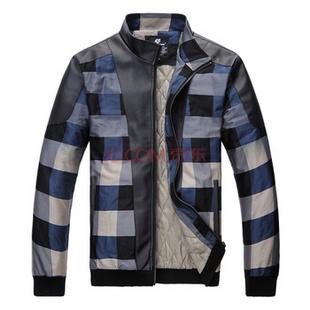 happy time 幸福时光 新款男装时尚立领保暖加棉格子夹克男外套X71780-558 黑色加棉 XL