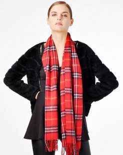 女款红色小格子时尚披肩