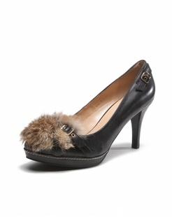 黑色时尚毛毛高跟鞋