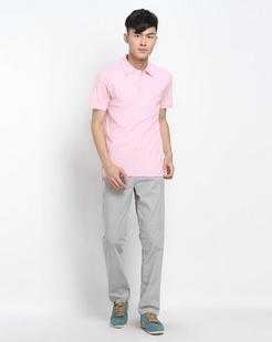 怀旧系列粉红色短袖Polo衫
