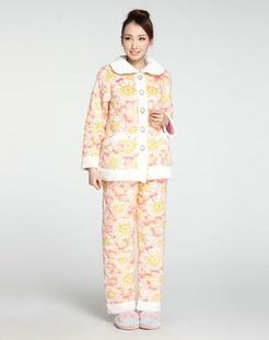 女款印花清新长袖睡衣套装