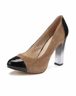 时尚拼接驼色高跟鞋