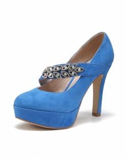 宝蓝色水钻装饰高跟鞋