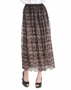 黑/多色蕾丝印花长裙