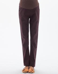 咖啡色彩色牛仔铅笔裤