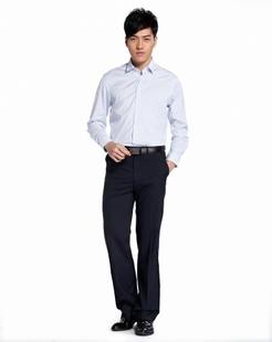 白拼蓝色经典舒适长袖衬衫