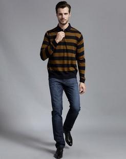 男款黄色针织衫