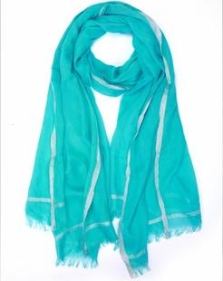 简约浪漫蓝绿色围巾