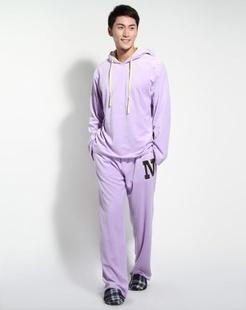 男款粉紫色时尚舒适长袖家居服套装