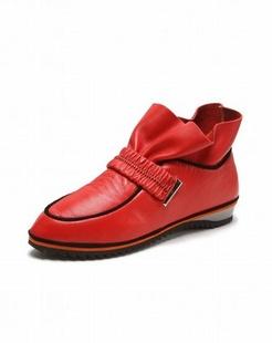 女款红色时尚百搭个性单鞋