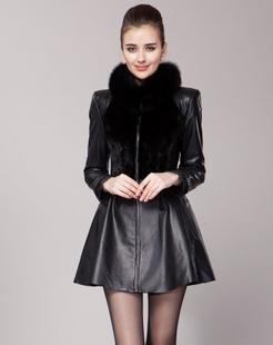 女款黑色百搭华丽时尚长袖皮衣