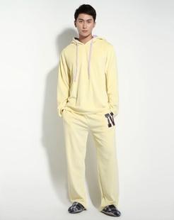 男款粉黄色时尚舒适长袖家居服套装