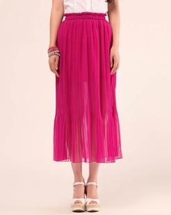 玫红色优雅时尚长裙