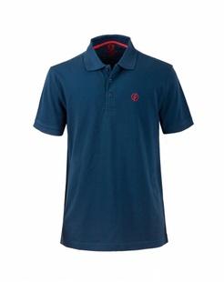 男款深蓝色舒适透气短袖POLO衫