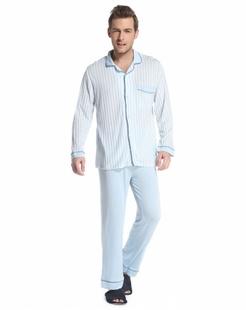 男款蓝/白色舒适条纹长袖家居服套装