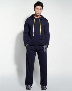 男款藏蓝色时尚舒适长袖家居服套装