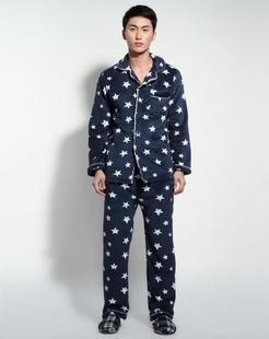 男款蓝色时尚舒适长袖家居服套装