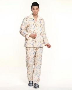 男款米黄灰色休闲长袖睡衣套装