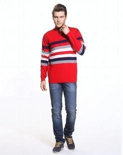 大红/蓝色时尚舒适长袖100%羊毛衫