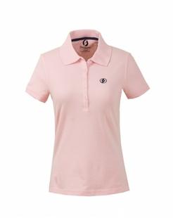 女款粉红色舒适简约短袖POLO衫