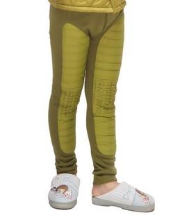 男童军绿色羽丝绒加厚儿童保暖裤装.