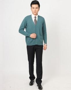 男款绿色100%羊绒开衫