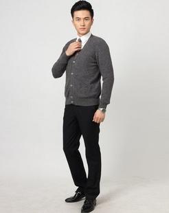 男款深灰色100%羊绒开衫