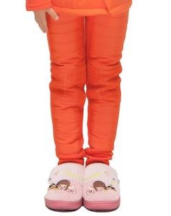 女童橙红色羽丝绒加厚儿童保暖裤装.