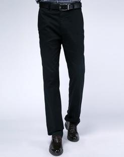 藏青色直筒休闲长裤