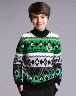 男童绿色毛衣