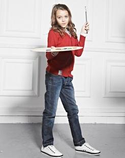 女童牛仔蓝时尚铅笔裤