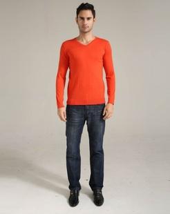 男士橙色羊毛衫
