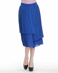 蓝色优雅皱褶长裙