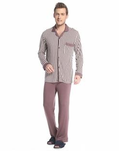 男款褐/白色时尚条纹长袖家居服套装