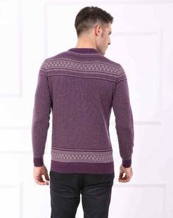 男士酱紫/米黄羊毛衫