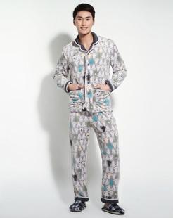 男款灰色时尚舒适长袖家居服套装