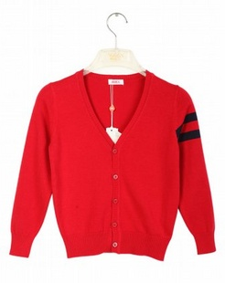 中性大红时尚多彩开衫