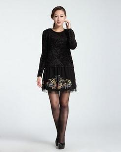 深黑色时尚百搭长袖针织衫